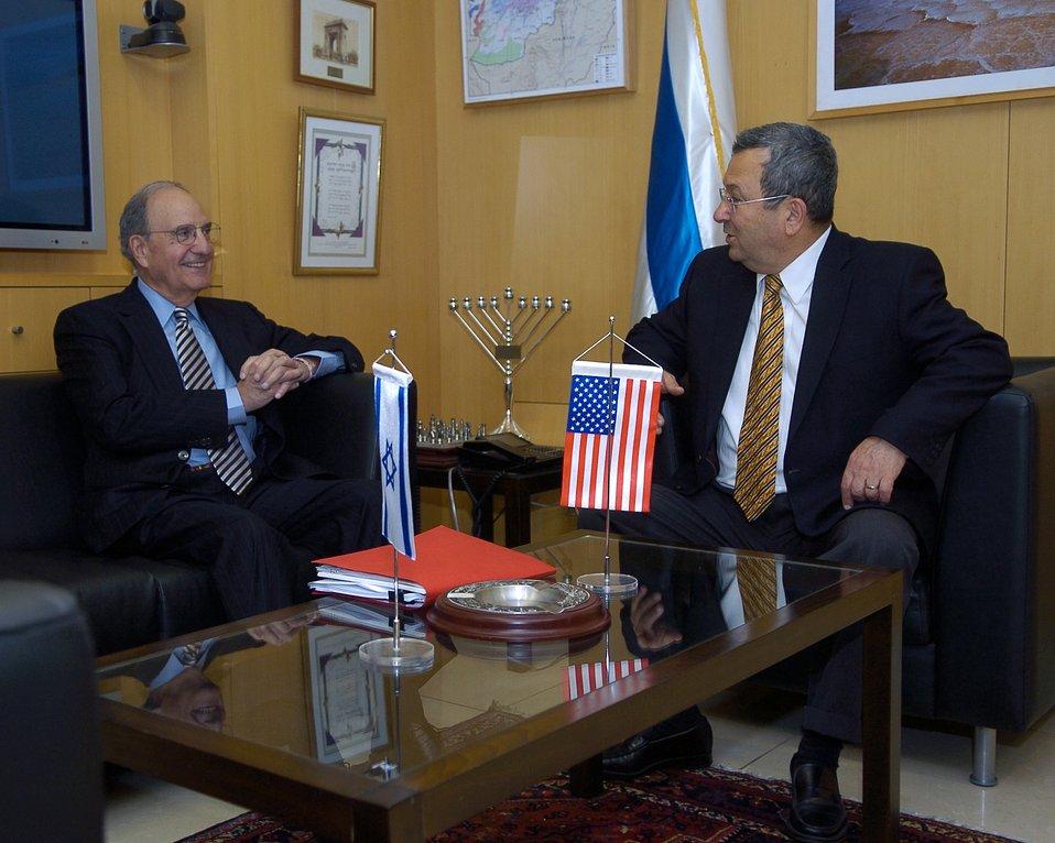 Israeli Defense Minister Ehud Barak and Special Envoy George Mitchell
