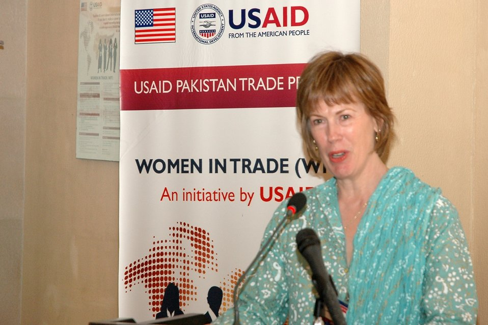 Dr. Marilyn Wyatt, wife of U.S. Ambassador Cameron Munter, speaks at the launch of USAID's Women in Trade Initiative.