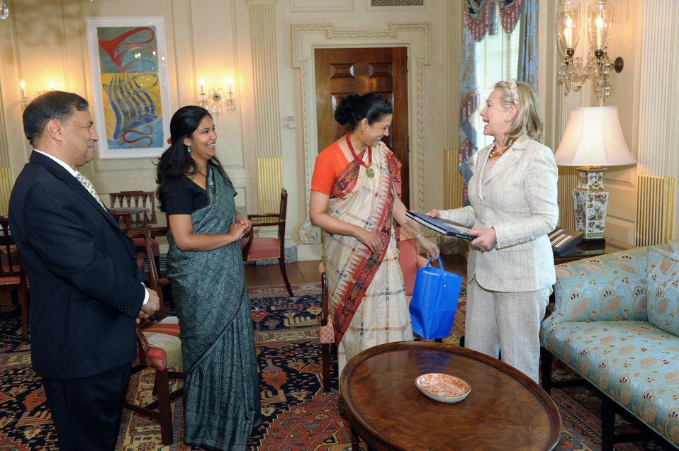 Secretary Clinton Meets With Indian Ambassador Shankar