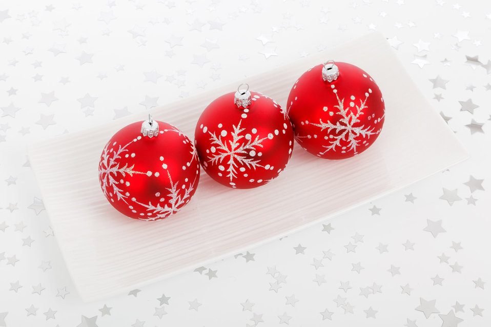 Three bauble decorations