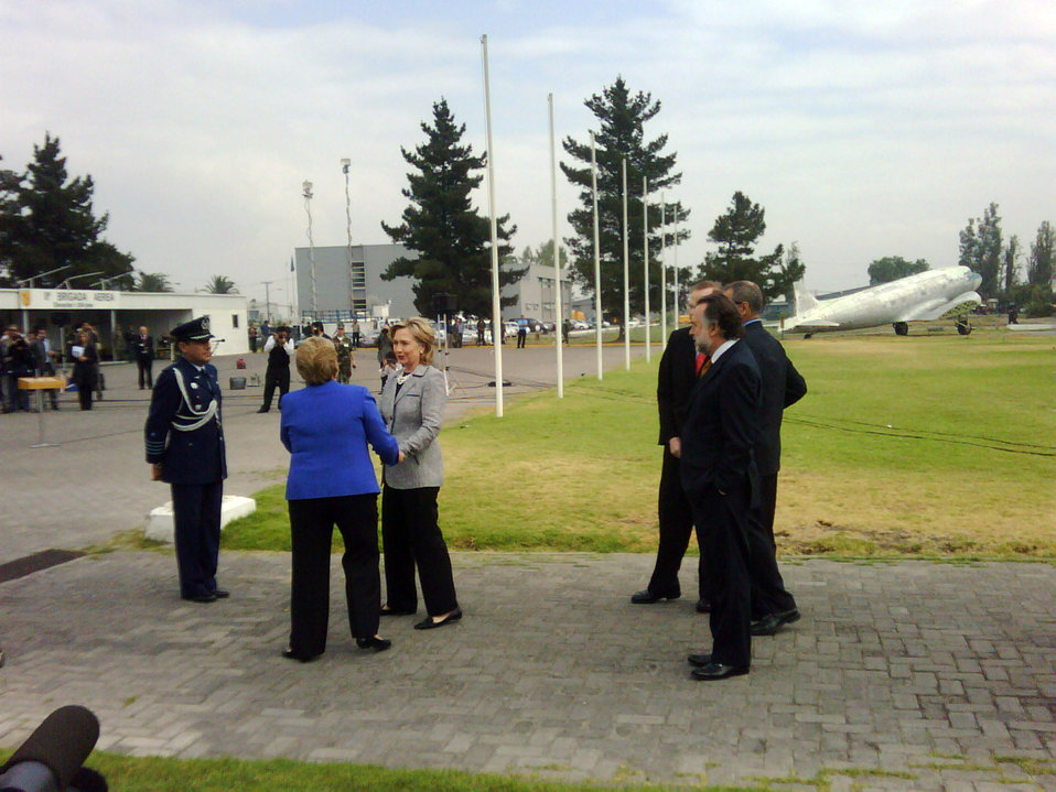 Secretary Clinton Arrives in Chile
