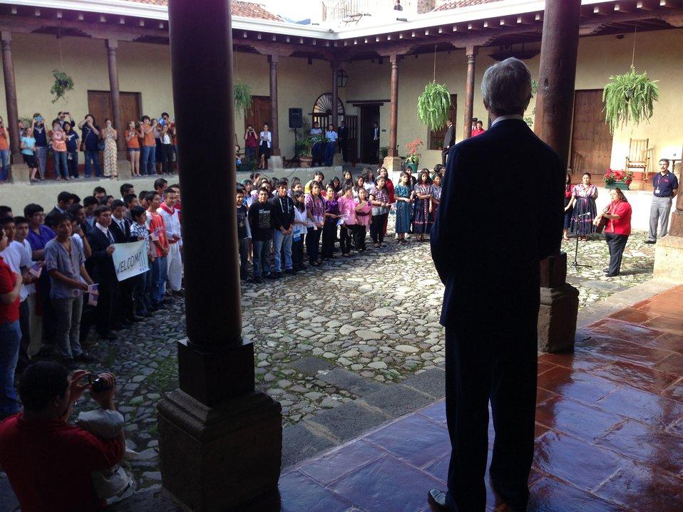 Secretary Kerry Listens as Guatemalan Children Sing