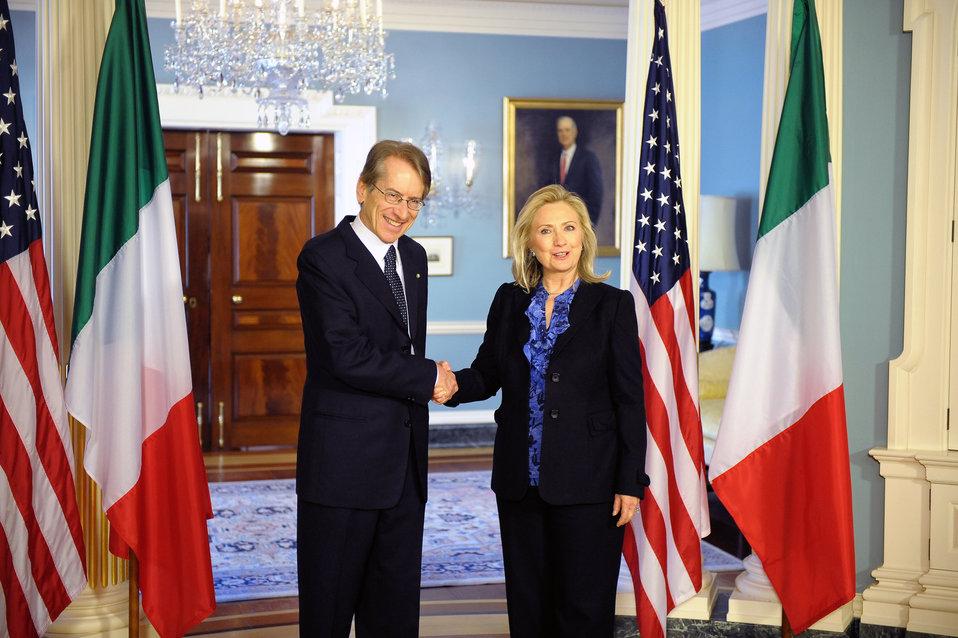 Secretary Clinton Shakes Hands With Italian Foreign Minister Terzi