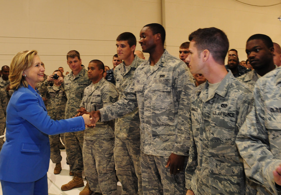 Secretary Clinton Shakes Hands With Servicemembers