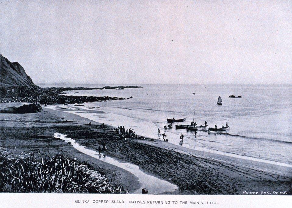 Native Aleuts returning to Glinka, the main village of Copper Island