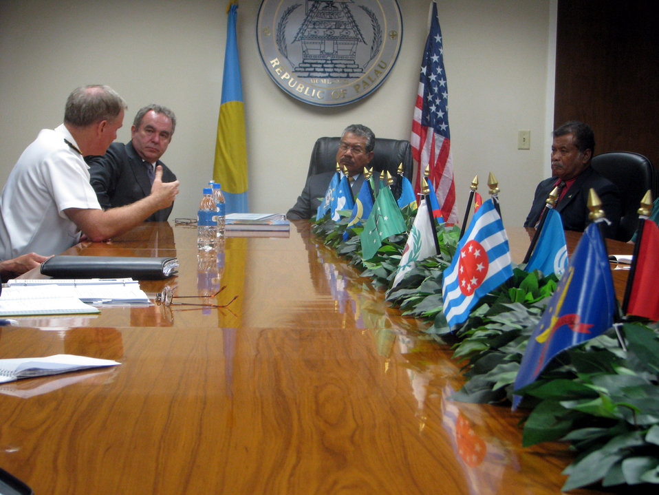 Adm. Walsh Addresses Palau President Toribiong