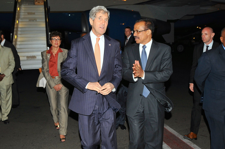 Ethiopian Ambassador Berhane Gebre-Christos and Ambassador Haslach Escort Secretary Kerry Upon Arrival in Ethiopia