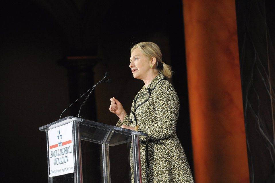 Secretary Clinton Delivers Remarks Upon Receiving the 2011 George C. Marshall Foundation Award