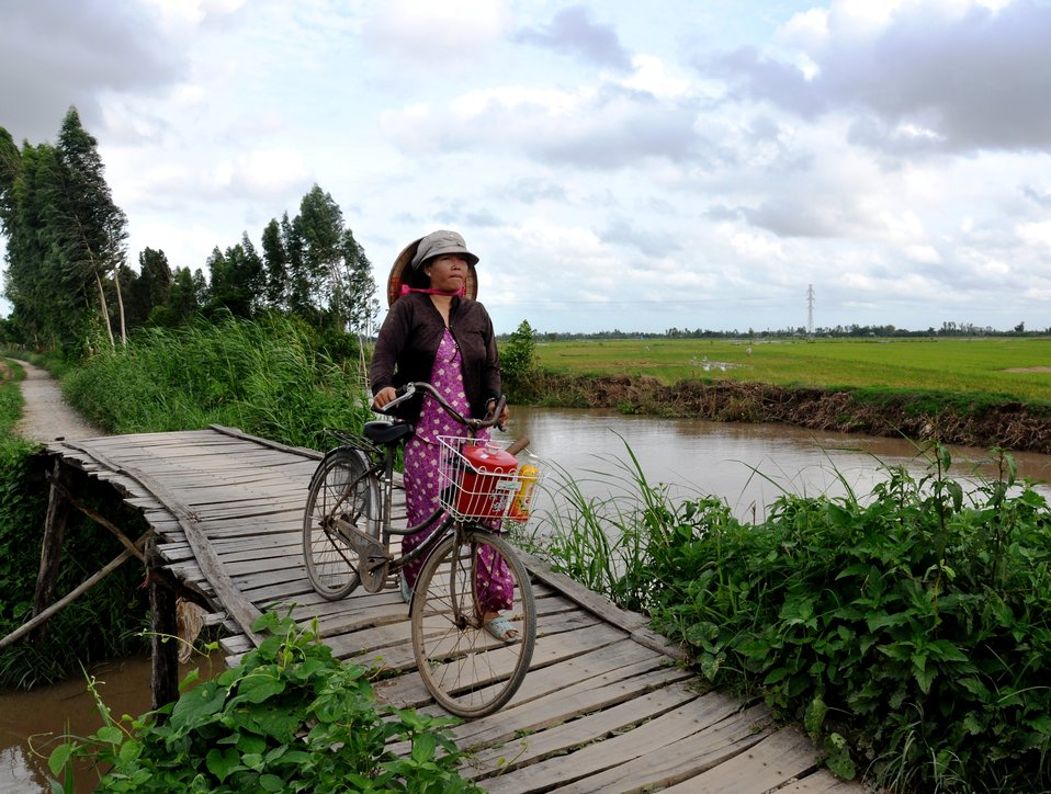 A Vietnamese woman in the Mekong Delta makes her way home