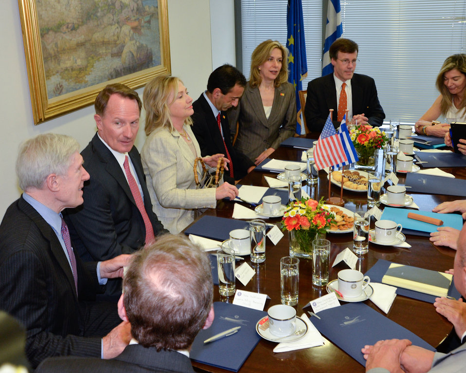 Secretary Clinton Participates in Meets With Greek Foreign Minister Venizelos