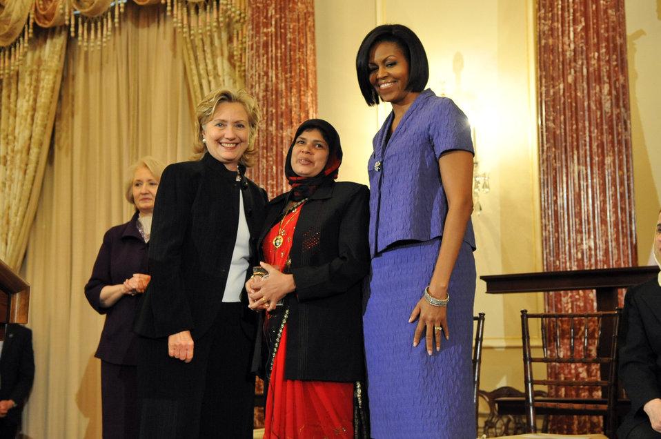 Secretary Clinton With First Lady Michelle Obama and Jansila Majeed of Sri Lanka