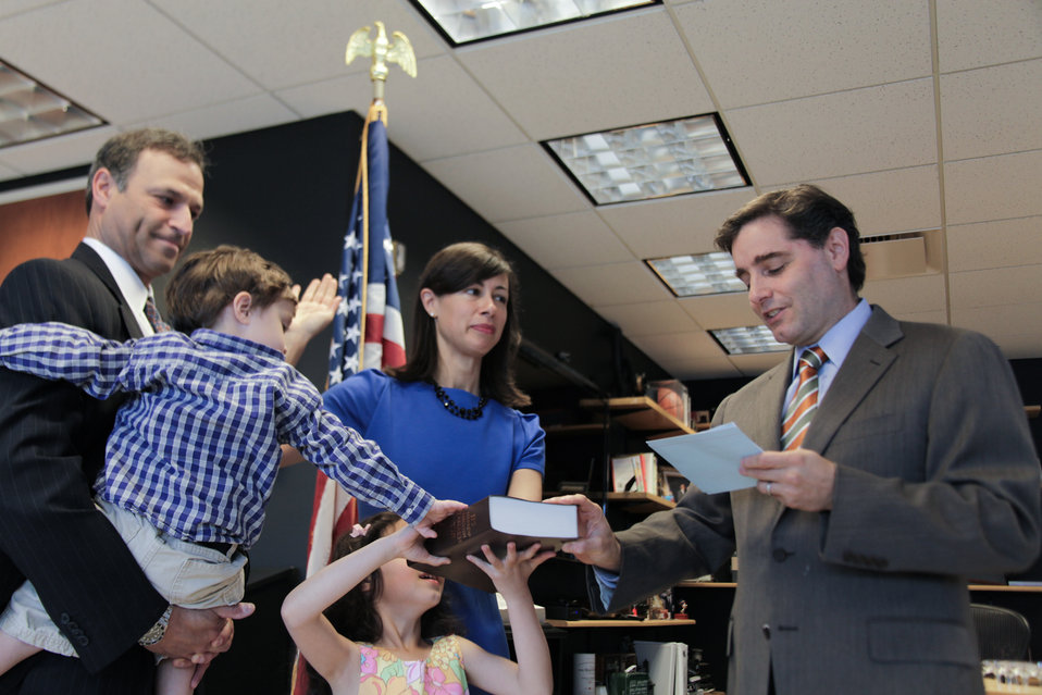 Commissioner Jessica Rosenworcel Being Sworn In by FCC Chairman Genachowski