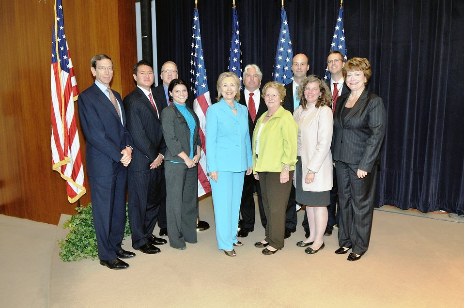 Secretary Clinton With Senior Members of the U.S. Delegation to the New START Negotiations and Nuclear Posture Review Department