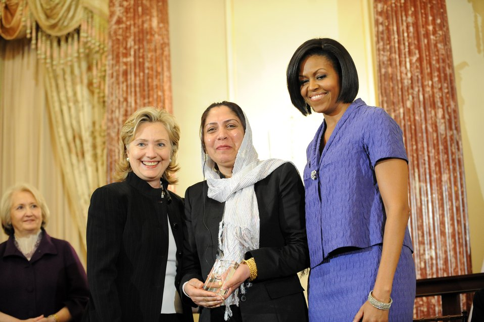 Secretary Clinton With First Lady Michelle Obama and Honoree Col. Shafiqa Quraishi of Aghanistan