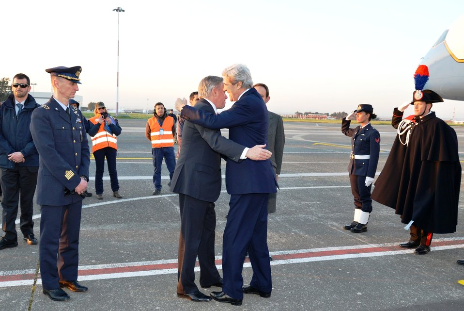 Secretary Kerry Is Greeted By Ambassador Thorne