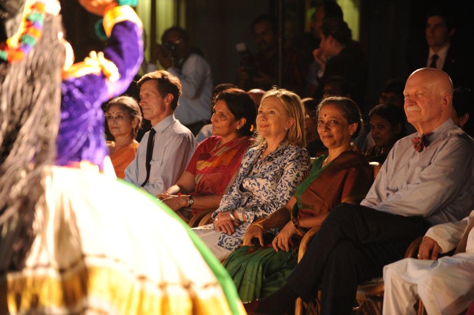 Assistant Secretary Blake, Secretary Clinton, Leela Samson, and Ambassador Burleigh Enjoy the Bharat Natyam Performance
