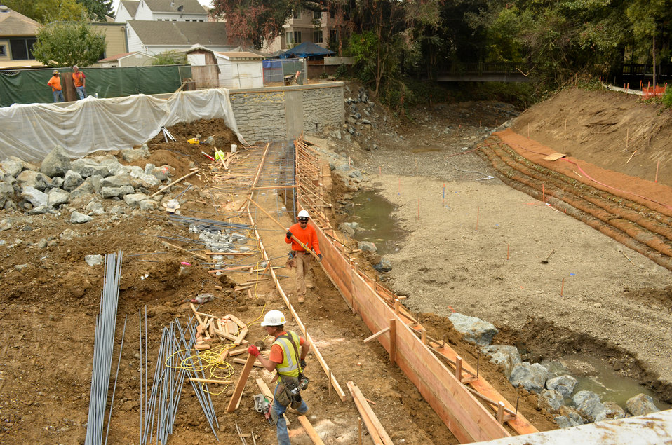 Finishing up box culverts in Napa Creek