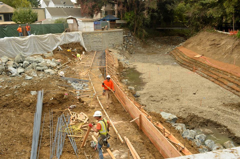 Finishing up box culverts in Napa Creek
