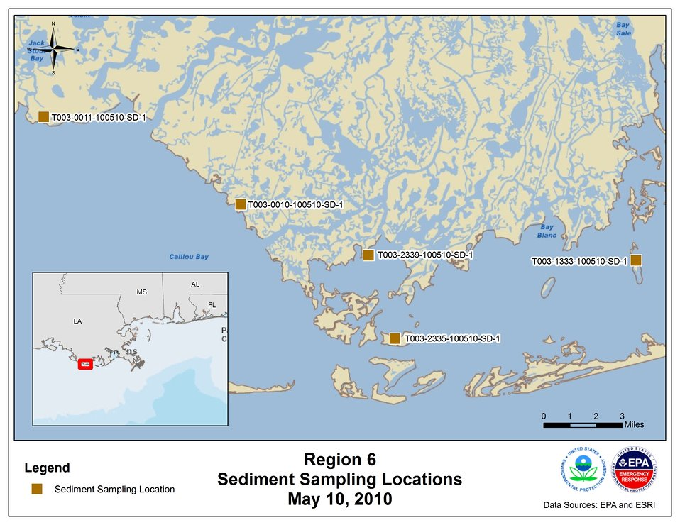 EPA Sediment Sampling Locations May 10, 2010