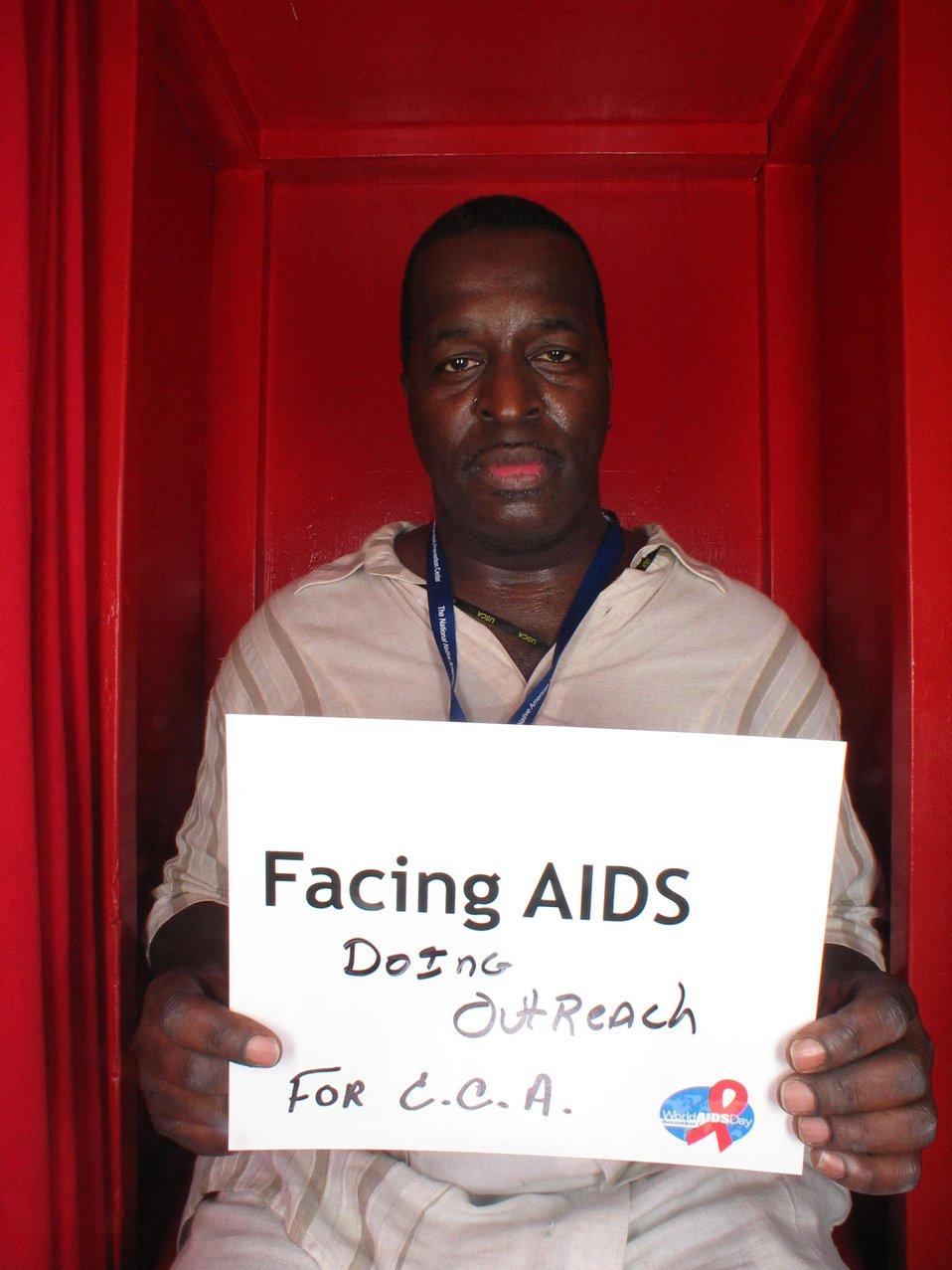 Facing AIDS doing outreach.
