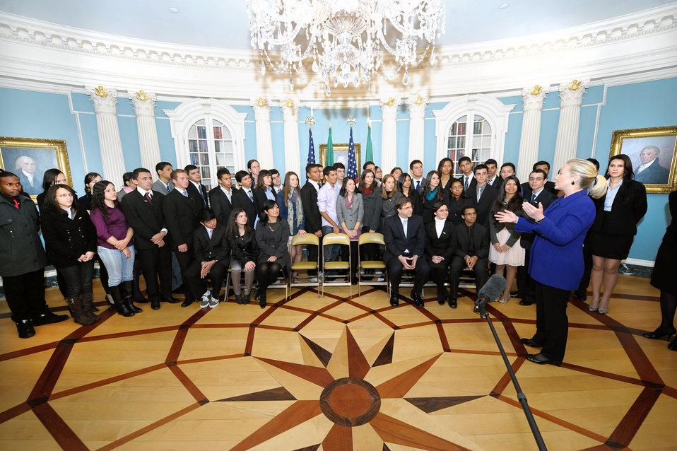 Secretary Clinton Meets With Brazilian Youth