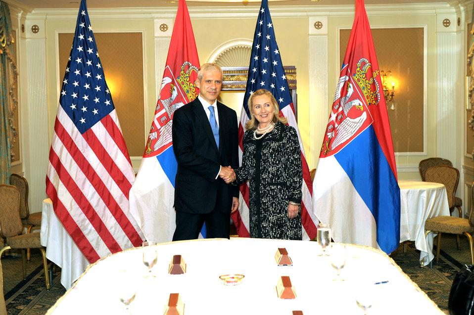 Secretary Clinton Meets With Serbian President Tadic