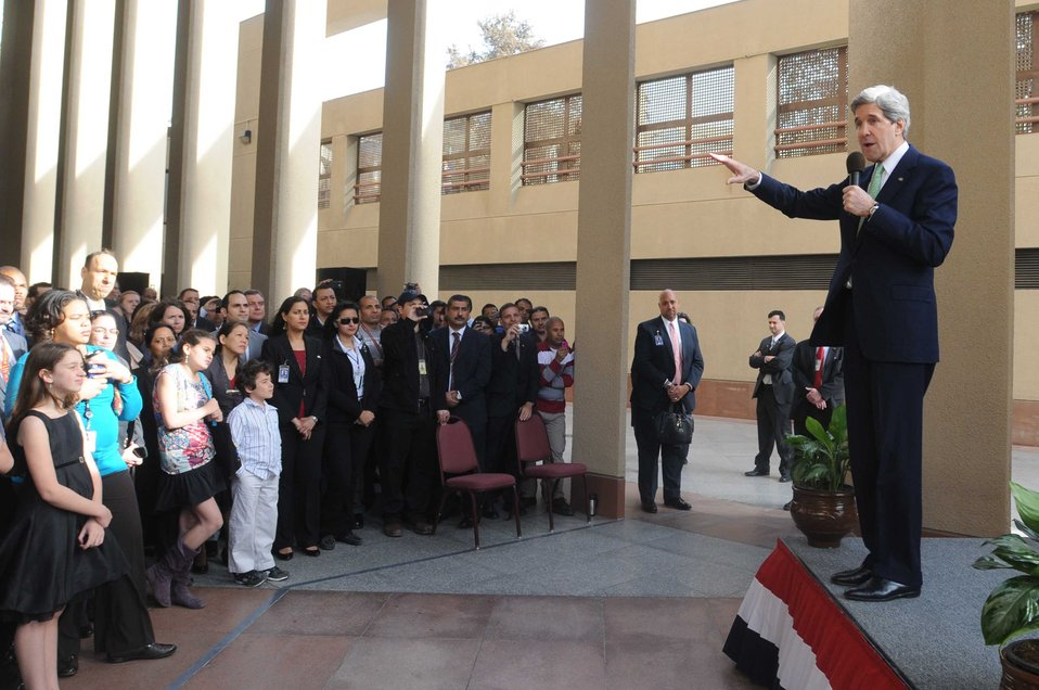 Secretary Kerry Delivers Remarks to Embassy Cairo Staff and Families
