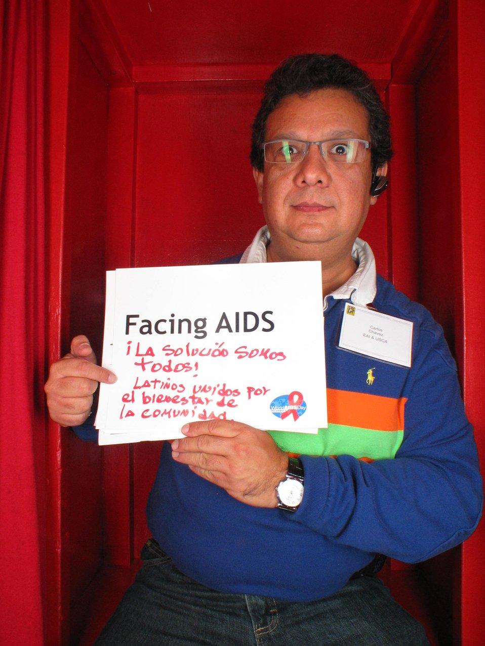 Facing AIDS La solicioo somos todos. Latinos unidos por el bienestar de la comunidad.