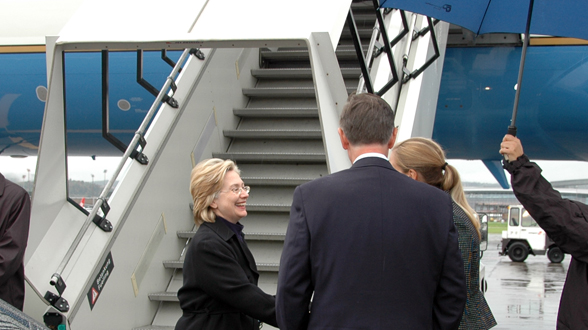 Secretary Clinton Arrives in Zurich