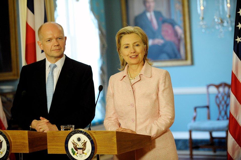 Secretary Clinton Meets With British Foreign Secretary William Hague
