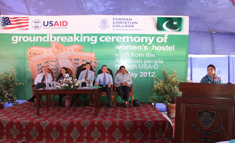 Mr. Richard A. Albright (Coordinator of Development Assistance), Nina Fite (U.S. Consul General), Dr. Andrew Sisson,Ms. Gail Spence (Acting Director USAID Punjab) at the ceremony.