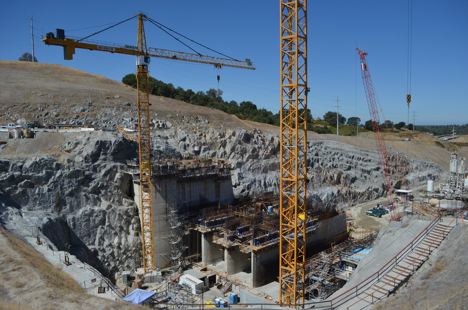 Construction continues on the control structure of Folsom Dam's new auxiliary spillway June 19, 2013