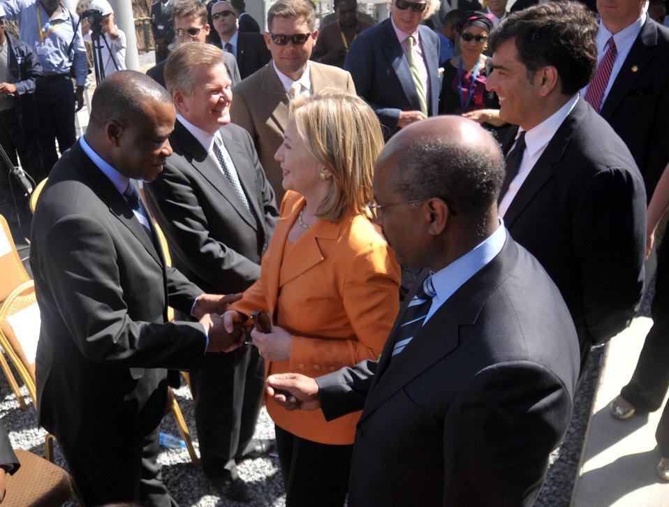 Secretary Clinton Shakes Hands With Tanzanian Energy Minister Ngeleja