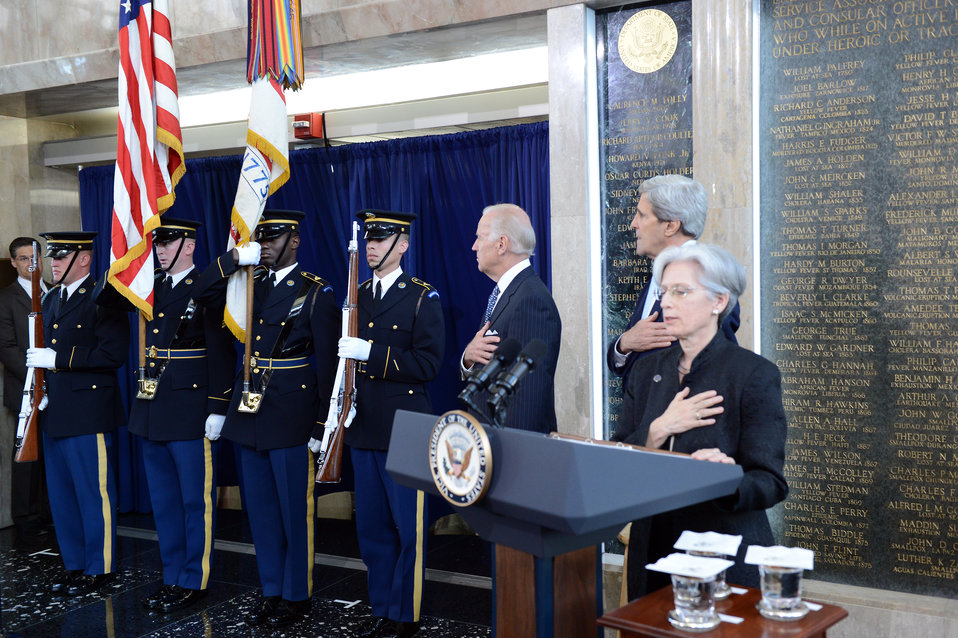 Secretary Kerry, Vice President Biden, and AFSA President Johnson Recite the Pledge of Allegiance