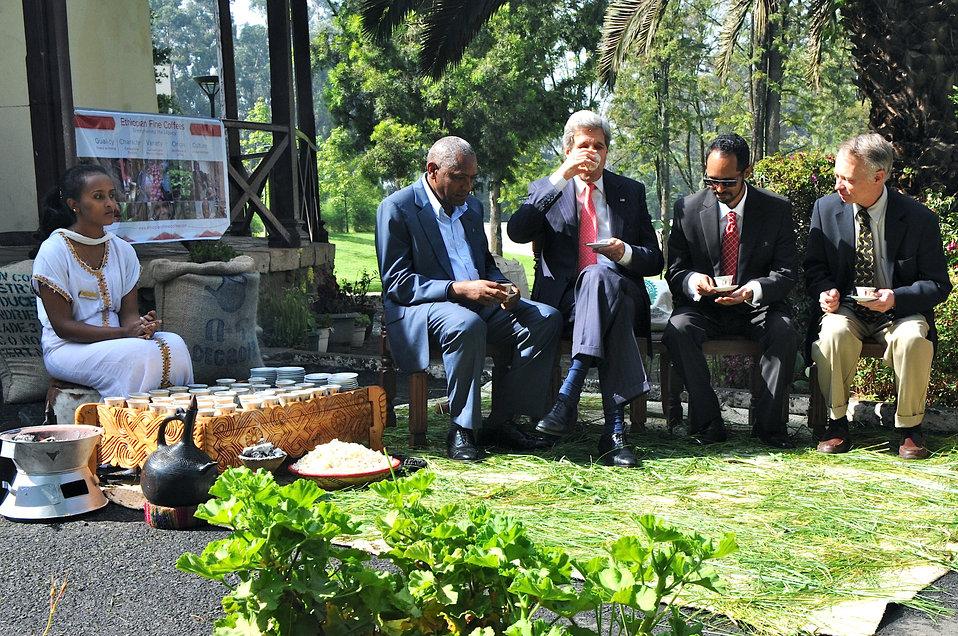 Secretary Kerry Participates in Traditional Ethiopian Coffee Ceremony