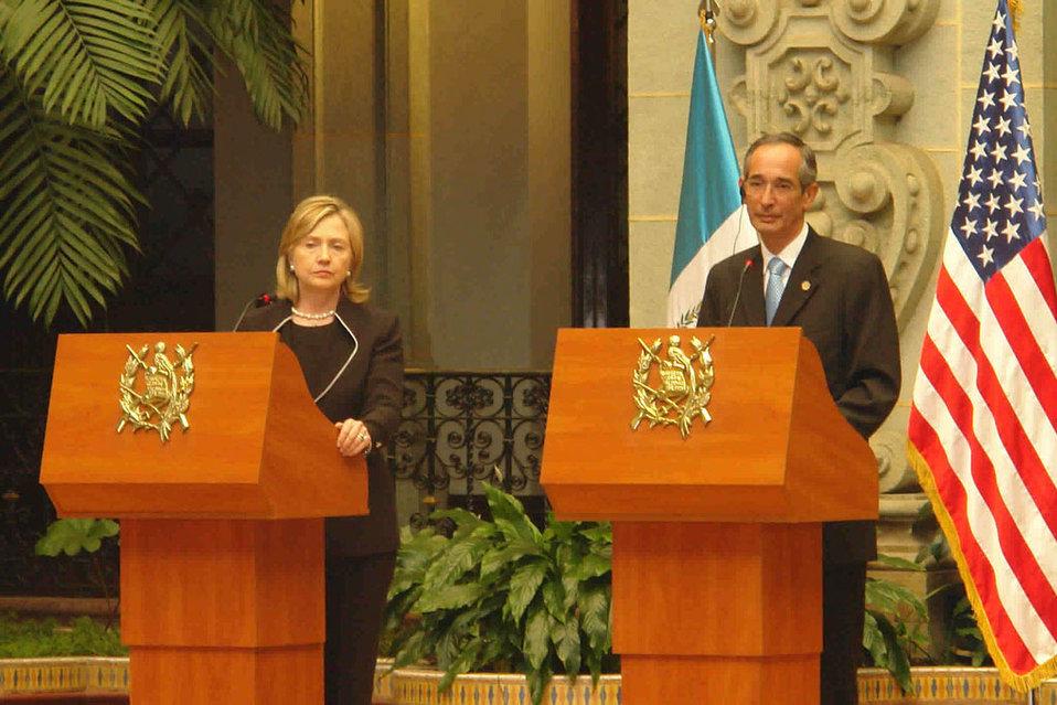 Secretary Clinton With Guatemalan President Alvaro Calom