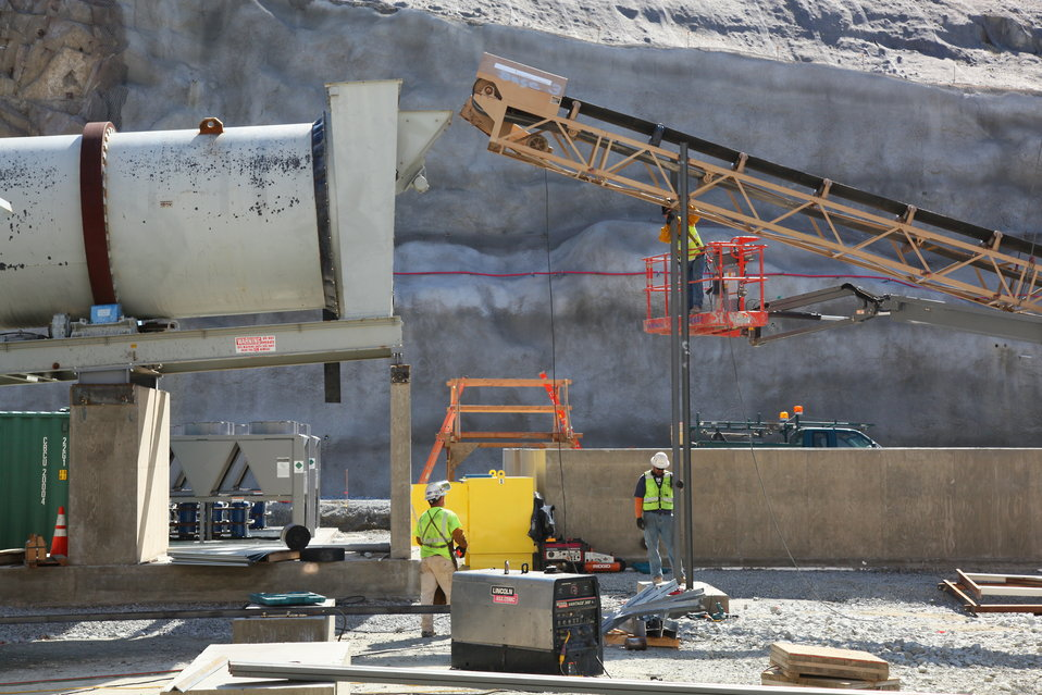 Sand drum placed into concrete batch plant at Folsom auxiliary spillway