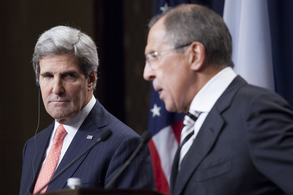 Secretary Kerry listens to Foreign Minister Lavrov