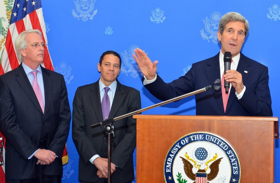 Secretary Kerry Addresses the Tri-Mission Staff and Families