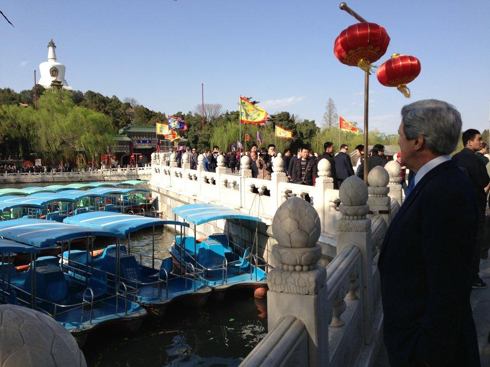 Secretary Kerry Looks at White Pagoda at Beihai Park