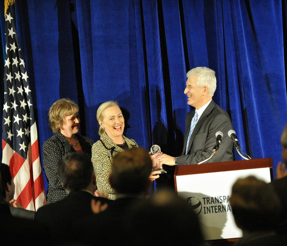 Secretary Clinton Receives Award at the Transparency International-USA's Annual Integrity Award Dinner