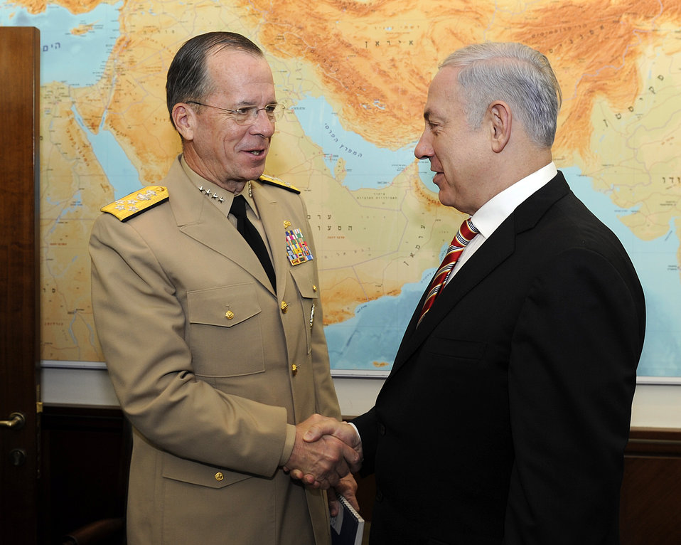 Admiral Mullen Shakes Hands With Israeli Prime Minister Netanyahu