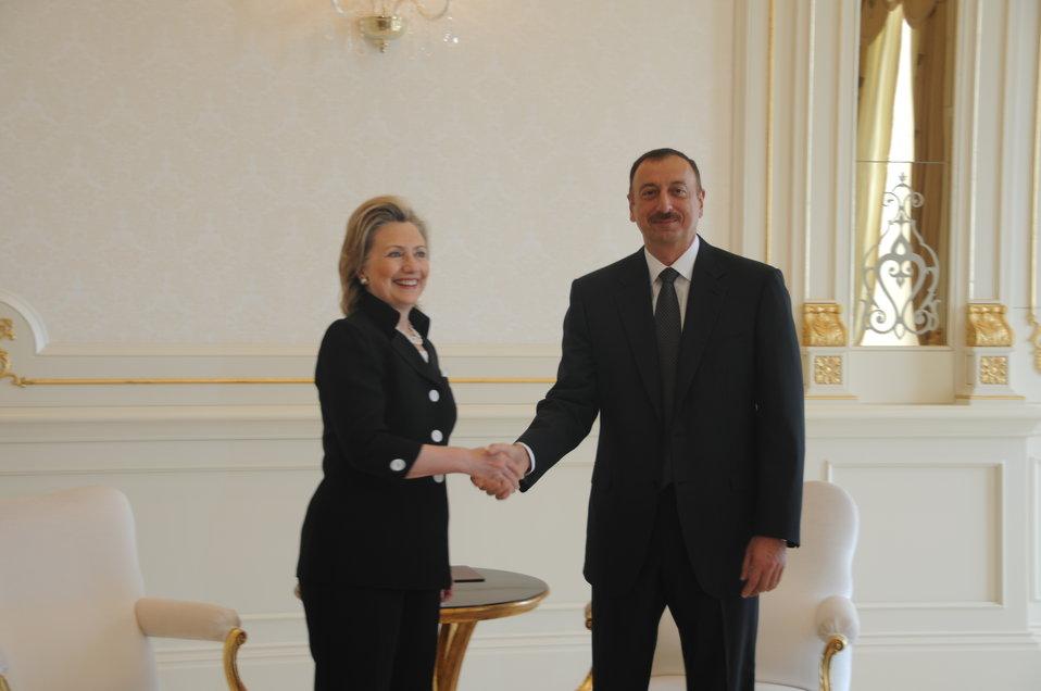 Secretary Clinton Is Greeted By Azerbaijani President Aliyev