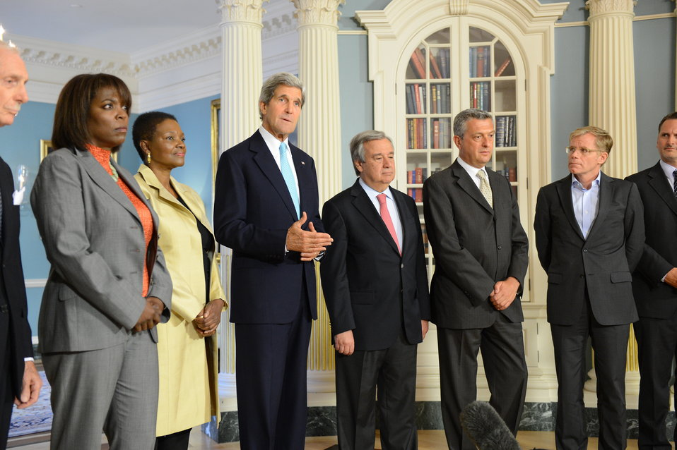 Secretary Kerry and International Humanitarian Agency Heads Address Reporters