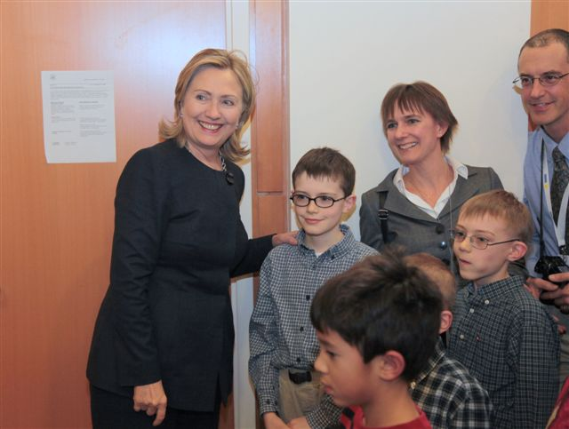 Secretary Clinton Greets Members of the U.S. Embassy Astana Staff
