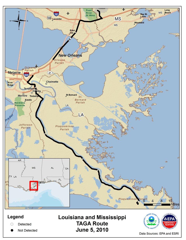 EPA TAGA Air Monitoring Locations June 5, 2010