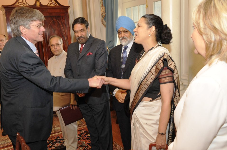Deputy Secretary Steinberg Shakes Hands With Indian Ambassador to the U.S. Shankar