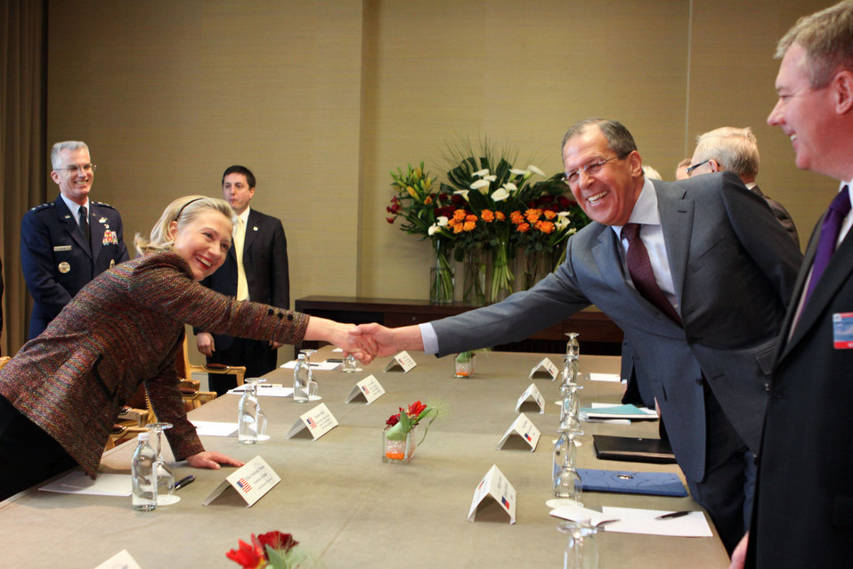 Secretary Clinton Shakes Hands With Russian Foreign Minister Lavrov