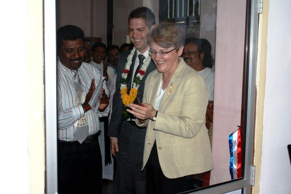 Ambassador Butenis, With PAO Anderson and Sughirtharaj, Celebrates the Opening of the American Corner Jaffna