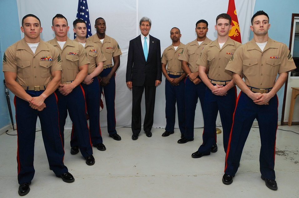 Secretary Kerry Poses With Marines Stationed at Embassy Juba